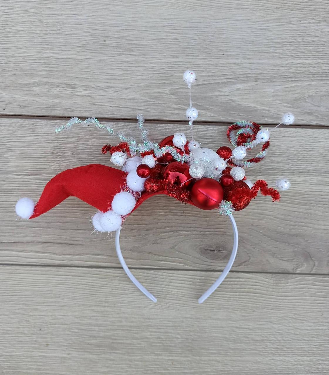 Новорічний обруч, Капелюшок санти на обручі, обруч на новорічне Свято