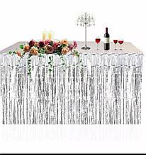 Юбка для стола из дождика из фольги для фотозон серебро  1*1 м