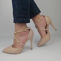 Женские туфли на каблуке со стразами, бежевые 37(24,8 см), размеры:37,38,40