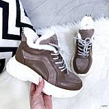 Женские кроссовки на меху 13665, фото 4