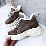 Женские кроссовки на меху 13665, фото 3