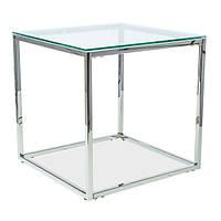 Стеклянный кофейный стол форме куба Signal Hilton B 55x55см с прозрачным стеклом в стиле модерн