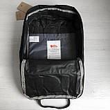 Модный рюкзак сумка канкен женский, для девочки Fjallraven Kanken No.2 черный с черными ручками 16 л., фото 9