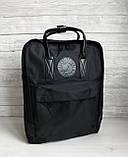 Модный рюкзак сумка канкен женский, для девочки Fjallraven Kanken No.2 черный с черными ручками 16 л., фото 7