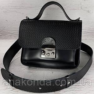 571 Сумка женская натуральная кожа черная кросс-боди с широким ремнем черная сумка женская кожаная через плечо