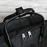 Модный рюкзак сумка канкен женский, для девочки Fjallraven Kanken No.2 черный с черными ручками 16 л., фото 6