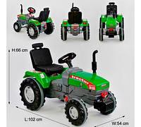 Трактор с педалями БОЛЬШОЙ 07-294 цвет ЗЕЛЁНЫЙ, прорезиненные колеса, ругулируемое сидение, клаксон на руле