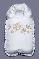 Конверт зимний в коляску, конверт нарядный на выписку белый