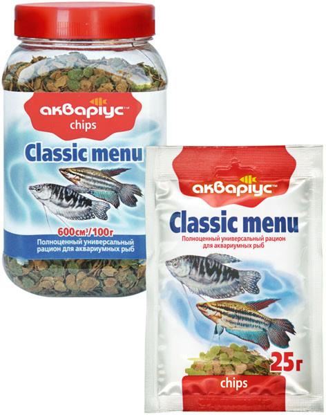 Корм для риб Акваріус Класик-меню чіпси, 25г