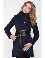 Женское зимнее утепленное пальто с кожаным поясом
