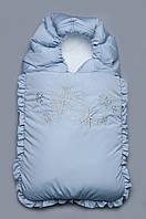 Детский конверт на выписку зимний, зимний конверт в коляску для мальчика ( голубой)