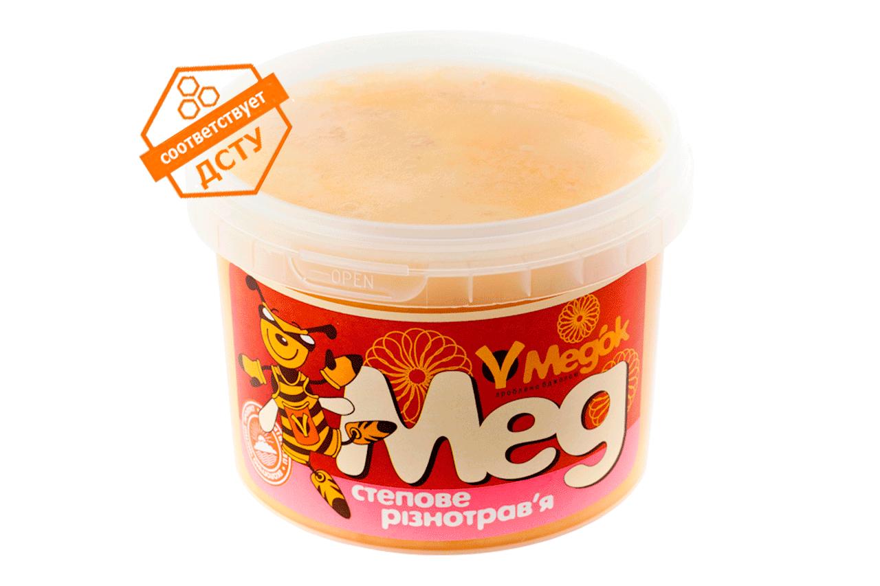 Мёд из степного разнотравья 0.5 кг. В его состав входит нектар лекарственных трав