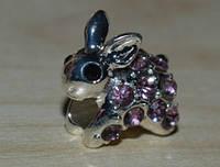 Бусина заяц с горным хрусталем, фото 1