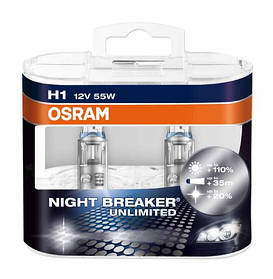 Лампочки авто H1 Osram 12V 55W  DUO-BOX ( Night + 110% Breaker Unlimited ) Германия (64150NBU) Комплект