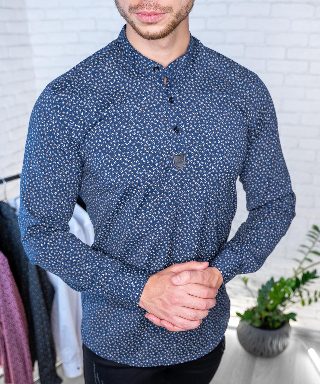 Мужская рубашка Черная с рисунком 3 пуговицы/ Турция Синий