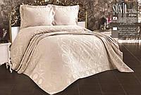 Покрывало жаккардовое евро на кровать 240х260 с наволочками 50х70 (TM Zeron) Sonil Venus Krem, Турция