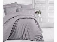 Однотонное серое постельное белье из сатина Полуторное «ARAN CLASY» Турецкое постельное белье из 100% хлопка