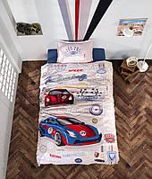 Постельное белье для подростка Ранфорс 160х220 Машины ( Clasy) Garage, Турция