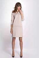 Женское трикотажное платье бежевого цвета. Модель 619 Mirabelle. Коллекция осень-зима 2016.