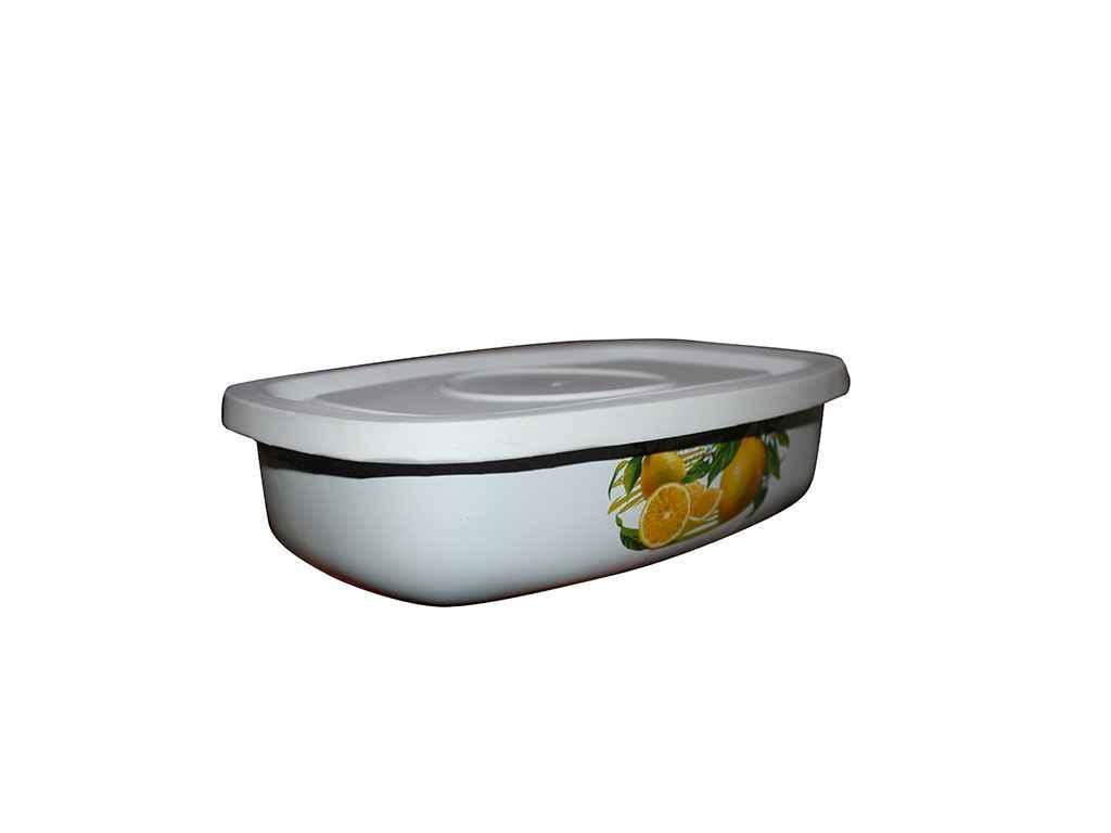Лоток эмалированный с пластиковой крышкой Idilia 1 л Лимон (I2507/12.3)