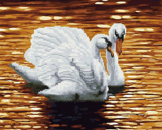GZS1112 Лебеді на заході Розмальовка-мозаїка, набір для творчості, фото 2