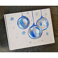 Новогодняя подарочная картонная коробка Елочные шары с наполнителем.30*24*9смПод заказ любой рисунок и размер.