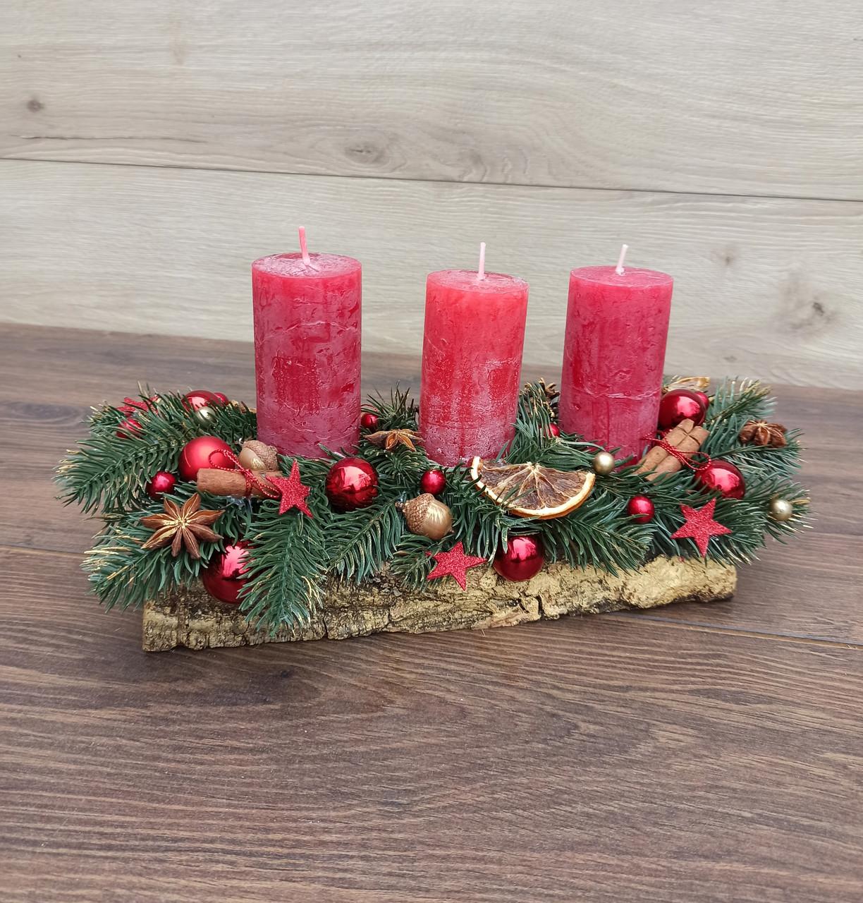 Новорічна Композиція зі свічкою на стіл, Різдвяна свічка. Підсвічник Новорічний, Різдвяний зі свічкою.
