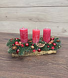 Новорічна Композиція зі свічкою на стіл, Різдвяна свічка. Підсвічник Новорічний, Різдвяний зі свічкою., фото 2