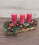 Композиція Новорічна зі свічкою на стіл, Різдвяна свічка. Підсвічник Новорічний, Різдвяний зі свічкою., фото 3