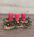 Новорічна Композиція зі свічкою на стіл, Різдвяна свічка. Підсвічник Новорічний, Різдвяний зі свічкою., фото 4