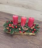 Новорічна Композиція зі свічкою на стіл, Різдвяна свічка. Підсвічник Новорічний, Різдвяний зі свічкою., фото 6