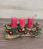 Композиція Новорічна зі свічкою на стіл, Різдвяна свічка. Підсвічник Новорічний, Різдвяний зі свічкою., фото 5