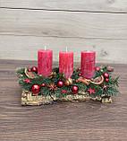 Композиція Новорічна зі свічкою на стіл, Різдвяна свічка. Підсвічник Новорічний, Різдвяний зі свічкою., фото 7