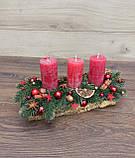 Композиція Новорічна зі свічкою на стіл, Різдвяна свічка. Підсвічник Новорічний, Різдвяний зі свічкою., фото 9