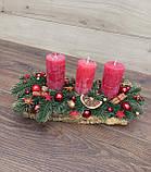 Новорічна Композиція зі свічкою на стіл, Різдвяна свічка. Підсвічник Новорічний, Різдвяний зі свічкою., фото 8