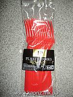 Вилочки красные ( пластик) 10 шт