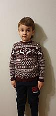 Детский вязаный свитер с оленями на мальчиков 5-11 лет Турция бежевый, фото 3
