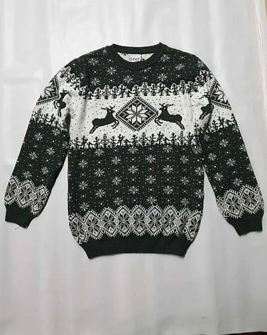 Вязаный свитер детский с оленями на мальчиков изумрудный, фото 2