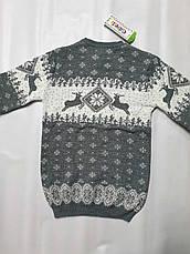 Вязаный свитер детский с оленями на мальчиков изумрудный, фото 3