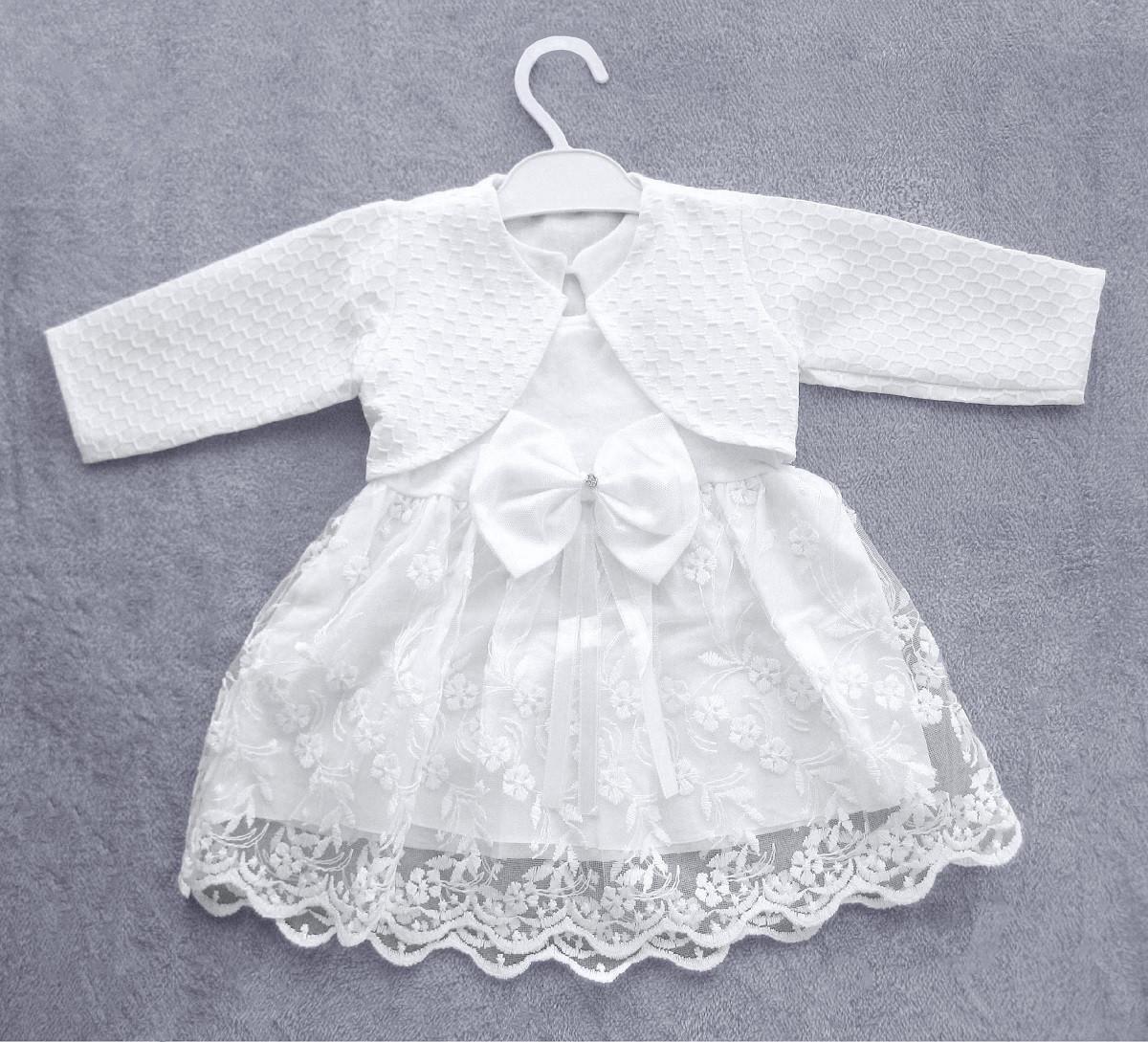 Очень нарядное белое платье с болеро на новорожденную девочку р. 68, 74, 80  ПОЛНОМЕРНОЕ на крещение