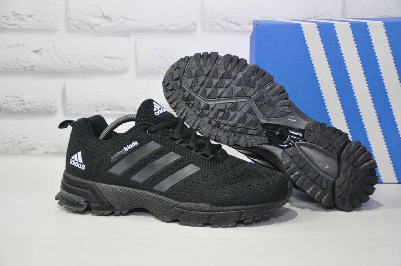 Мужские черные кроссовки сетка в стиле Adidas Springblade