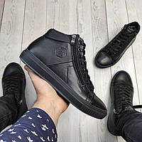 Зимние кожаные ботинки кроссовки на меху Philipp Plein Zipper Leather, фото 1