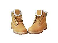 Ботинки зимние женские Timberland 6 inch Yellow (тимберленд) коричневые 36