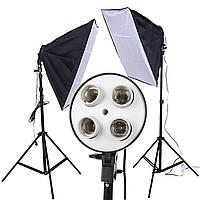 Набор постоянного студийного света софтбоксы на 4 лампы Е27 Prolighting 50х70см + Стойка 2.2м