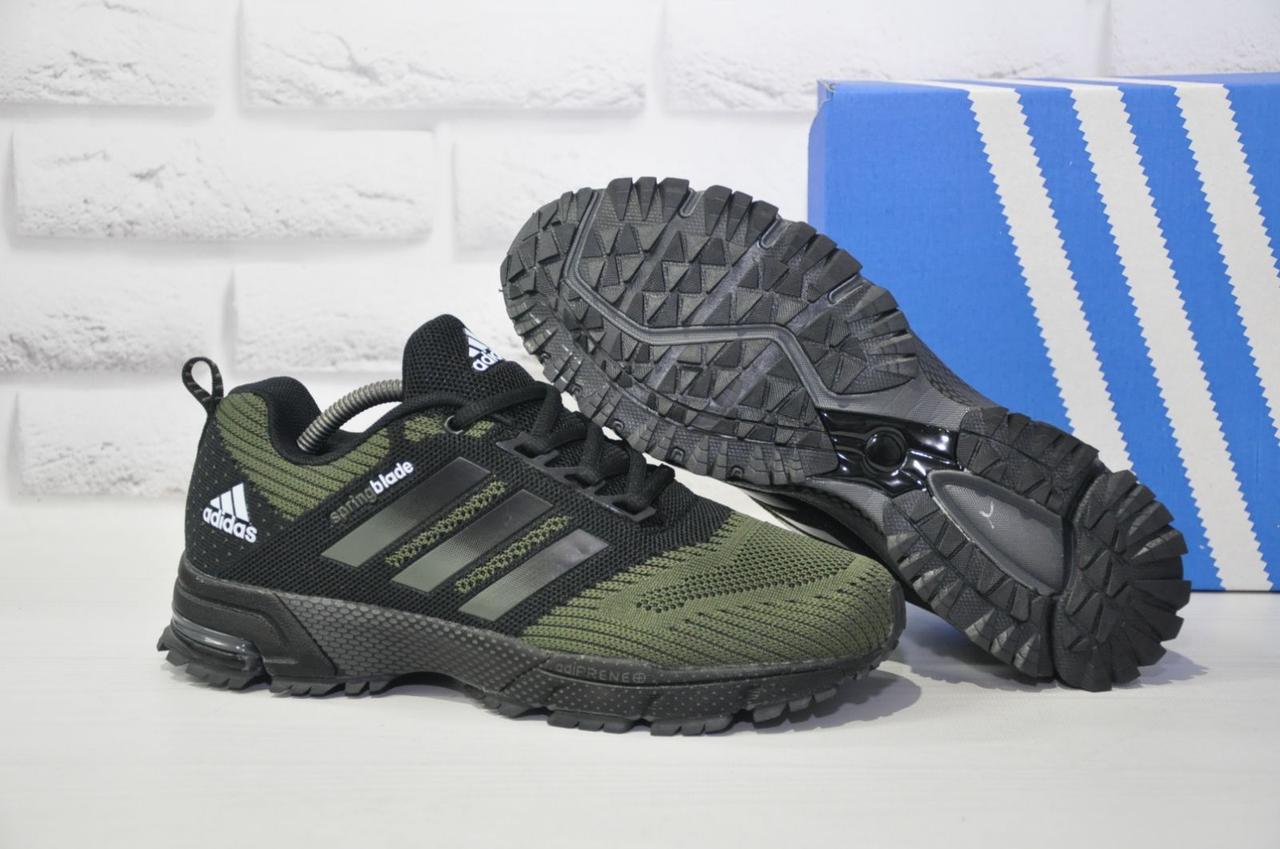 Мужские зеленые кроссовки сетка в стиле Adidas Springblade
