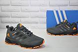 Чоловічі сірі з помаранчевим кросівки сітка в стилі Adidas Springblade, фото 3