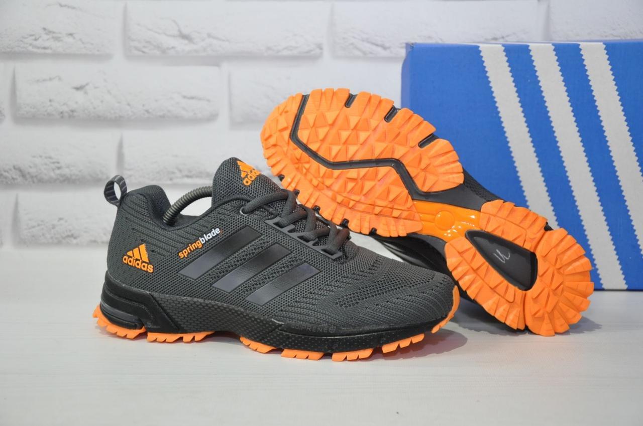 Мужские серые с оранжевым кроссовки сетка в стиле Adidas Springblade