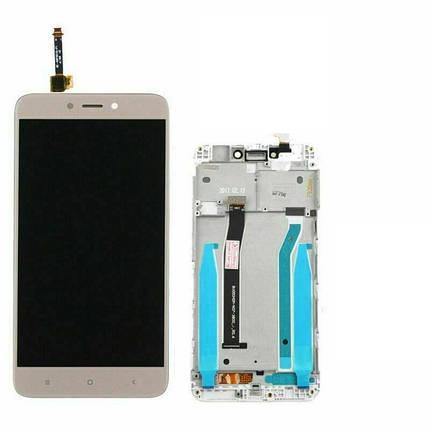 Дисплей (экран) для Xiaomi Redmi 4X с сенсором (тачскрином) и рамкой золотистый, фото 2
