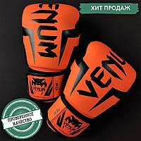 Боксерські рукавички для тренувань і спарингів VENUM Поліуретан На липучці Помаранчеві (СПО поп56) 6 унцій