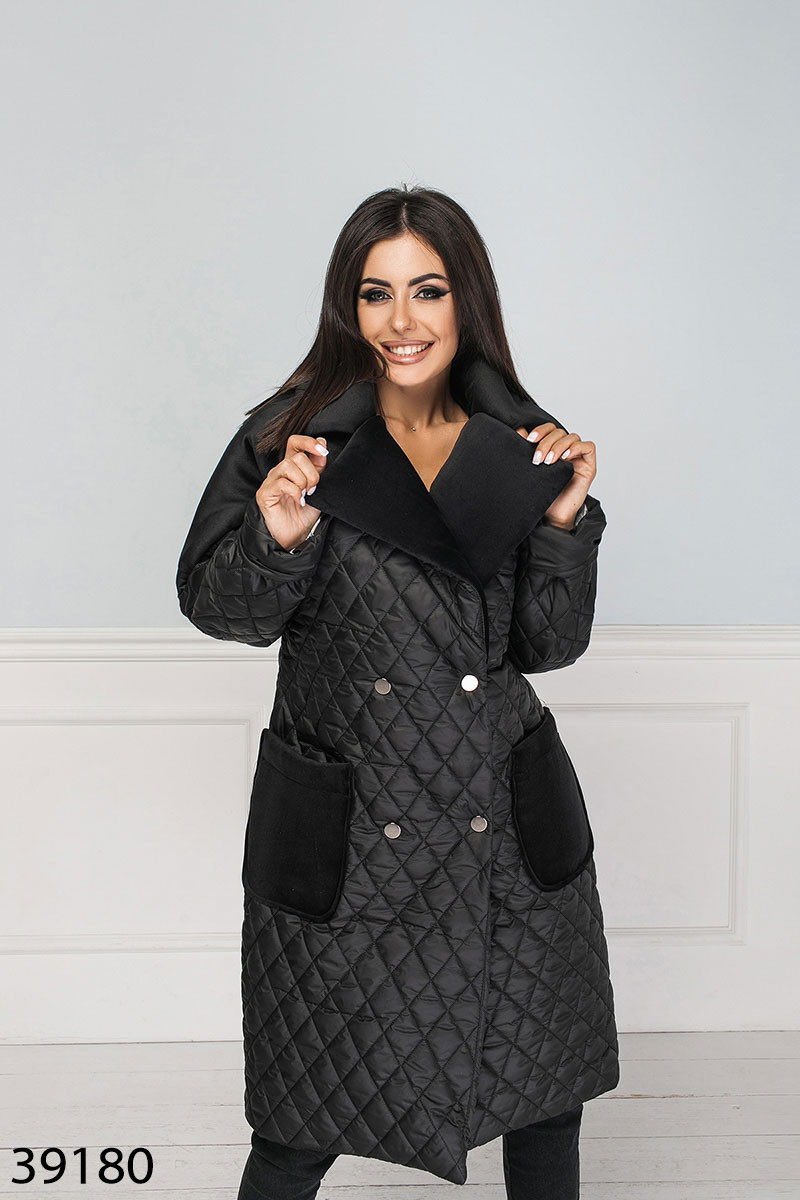 Стильная женская куртка с отложным воротником и накладными карманами с 42 по 48 размер - SvitStyle